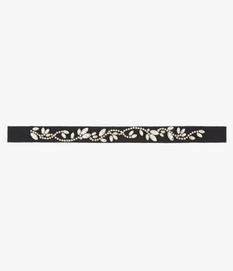 Headband crafted from a soft grosgrain ribbon that's embellished with sparkling crystals.