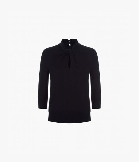 Black jumper with cropped fitted three quarter length sleeves and a twisted neckline detail.