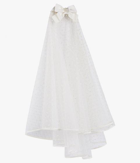 Secured by a faux pearl-embellished grosgrain bow, this shoulder-length veil is made with delicate ivory tulle.